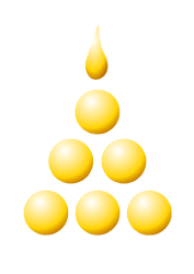 Samatha Logo: a pyramid of gold balls topped by a golden flame